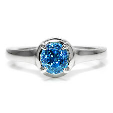 Gabriel & Co Amavida Blue Zircon Solitaire Ring 18K White Gold 1.50ct