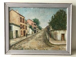 Early 20th Century School Of MAURICE UTRILLO Painting of Montmartre in Frame
