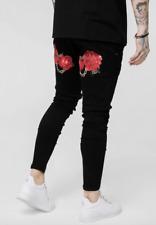 New Mens Sik Silk Siksilk Super Stretch Denim Designer Tight Skinny Jeans Black