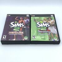 The Sims 2 Nightlife & University PC Game CD ROM EA Games Expansion Pack Lot