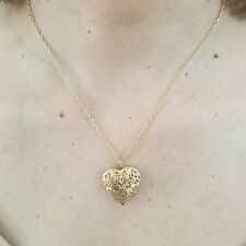 Trendy Women Gold Plated Heart Locket Chain Pendant Necklace