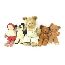 5 Vintage Antique Old Handmade Teddy Bear Doll Lot Button Eyes Knickerbocker