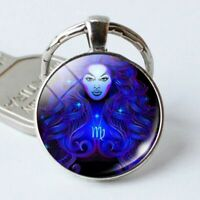 Zodiac Horoscope Sign Keychain Key Fob Chain Ring Gift Idea Astrology Astro Luck