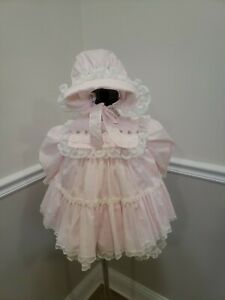 Vintage Bryan  Pink Frilly Toddler Girl Pinafore Dress Size 18 Months