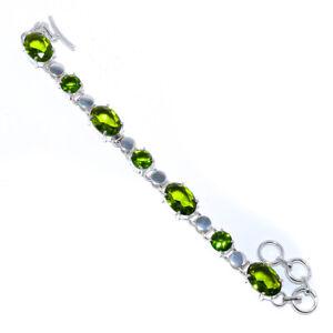 "Madagascar Peridot Topaz 925 Sterling Silver Jewelry Tennis Bracelet 7.99"" F1891"