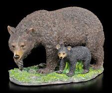 Schwarzbär Figur mit Jungem - Bär Deko Figur Bärenjunges Wildtier
