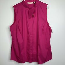 Sejour Womens Blouse 18W Pink Button Down Sleeveless Stretch Pussy Bow NEW G1
