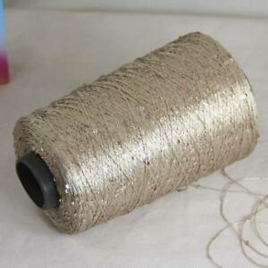 Sale 1cone460g Nylon Polyester Sparkly Knitting Sequin Yarn Beige Silver 20-10-1