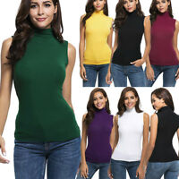 Womens Summer Sleeveless Vest Top Turtleneck Tee Casual Tank Top Blouse T Shirt