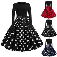 Vintage Womens Long Sleeve Evening Dot Printing Party Prom Swing Dress Xmas AB