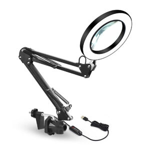 5X Magnifying Glass Lamp LED Light Magnifier Desk Lamp For Reading Beauty Nail