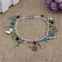 Alice In Wonderland Cheshire Cat Mad Hatter Drink Silver Plated Charm Bracelet