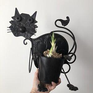"""Metallic Cat Planter Pot - Animal Pot for Plants - Hanging Cat 14""""Tall, 17""""Long"""