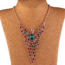 Vintage Women Rhinestone Peacock Statement Chain Necklace Earrings Jewelry Set