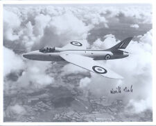 10x8 Hawker Hunter photo genuine hand signed WW2 RAF ace test pilot DUKE DSO DFC
