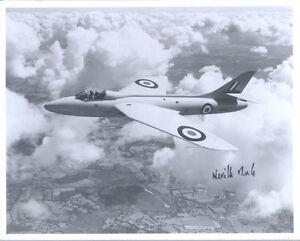 10x8 Hawker Hunter photo genuine hand signed WW2 RAF ace test pilot DUKE DSO DFC