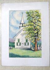 Original Watercolor ca 1950 Stuart Jones New England Church ME?  NH? Mid-Century
