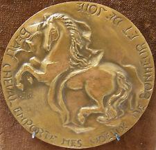 CHEVAL - TRÈS RARE Médaille de Voeux en bronze signée O.TISON MICHEL