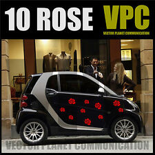 adesivi fiori rose 10 stickers flowers custom auto tuning muri parete vetri