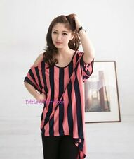 Japan Striped Open Shoulder OVersized Knit Tunic T Shirt! Coral