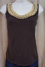 August Silk Petite Tank Top Sz PS Brown Gold Beaded Neckline Sleeveless Shirt