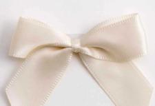5cm Satin Bows - Cream Self Adhesive Pre Tied 16mm Ribbon Pack 12 FREE P&P