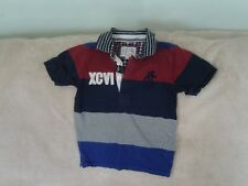 Boys 6-7 Yrs- Blue/ Grey/Red Short Sleeve Polo Top with Logo - J Jeans Debenhams