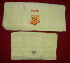 Winnie The Pooh, Embroidered Yellow Face Cloth & Towel Set, Pooh Bear & Tigger