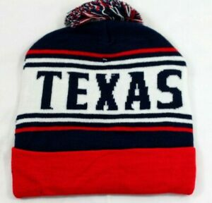 Texas Winter Pom Beanie Hat Unisex Knit Cap 5 Color