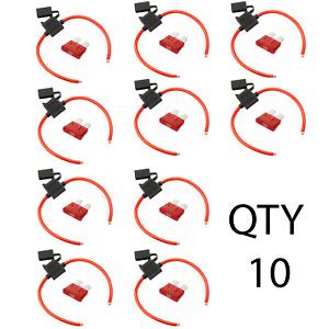 (10) True Spec 10 AWG Gauge ATC Inline Fuse Holder Fuseholder cover &(10) 10 Amp