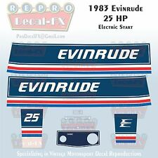 1983 Evinrude 25HP Electric Start Outboard Reproduction Pc Vinyl Decals 25ECT