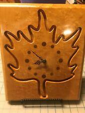 "Maple Leaf 12"" x 10"" Wooden Wall Clock - 1971, Quatrtz Timing Mechanism"