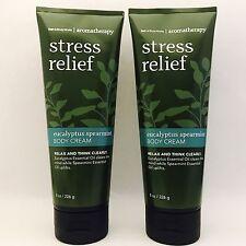 2 Bath & Body Works Aromatherapy Stress Relief Eucalyptus Spearmint Body Cream