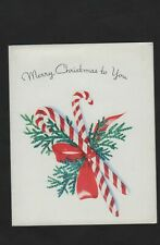 vtg 1948 Golden Bell Greeting Merry Christmass to You Card 2 Candy Cabe Pine