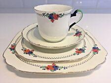 Tuscan ART DECO Vintage China Teacup, Saucer & 2 Plates QUAD SET Enamelled Rare