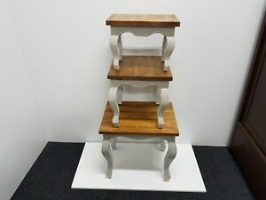 Designer nest of tables set in natural oak and white from bluebone RRP  £350