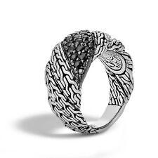 John Hardy Classic Chain Black Sapphire Lava Flat Twisted Chain Ring Size 7