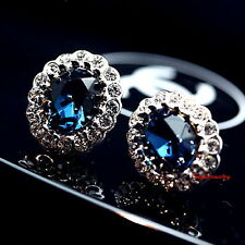 Silver Blue Sapphire Oval Stone Stud Earring Made With Swarovski Crystal XE111