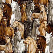 Fabric Western Wild Horses Brown White Fawn Full on Cotton by the 1/4 yard BIN