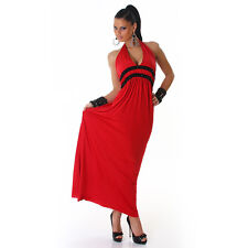 Womens Red Sexy Halterneck Beaded Evening Party Long Maxi Dress 8