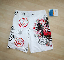 BNWT Trespass White Summer Shorts VW Camper Van Motif Sz S - W 34""