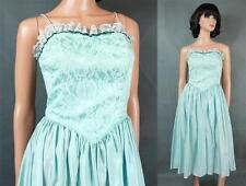 80s Prom Dress XS Vintage Sleeveless Light Aqua Blue Taffeta Lace Sequins Gown