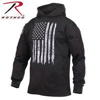 Sweater Distressed US Flag Concealed Carry Hoodie Hooded Sweatshirt Black Rotcho