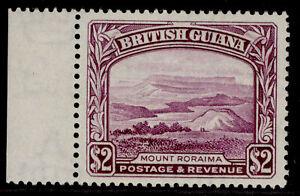 BRITISH GUIANA GVI SG318a, $2 purple, LH MINT. Cat £29. PERF 14 X 13