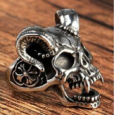 Stainless Steel Biker Skull Ring Stainless Steel Goat Horn Skull W/ Celtic Cross
