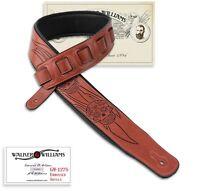 Walker & Williams GM-1275 Sienna Brown Padded Guitar Strap Flaming Skulls