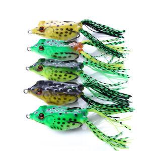 "5pcs 1/2 oz 2.5"" Large Frog Topwater Soft Fishing Lures Bait Bass Crankbaits"