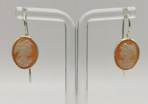 orecchini cammeo autentico argento 925 da donna pendenti GIOIELLO ITALIANO cameo