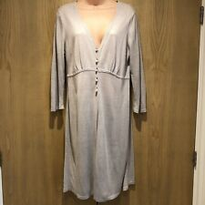 Boden Size UK 14 Silk & Linen Blend Grey Long Cardigan Knee Length 3/4 Sleeves