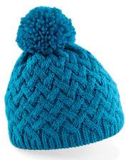 Beechfield Ski Snowboard Beanie Hat High Quality Knit Bobble Pom Pom Style